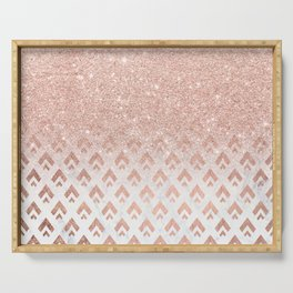 Faux rose gold glitter ombre rose gold foil triangles chevron geometric on white marble Serving Tray