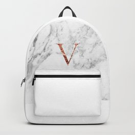 Monogram rose gold marble V Backpack