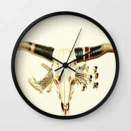 Floral Conscience Cow Skull Wall Clock