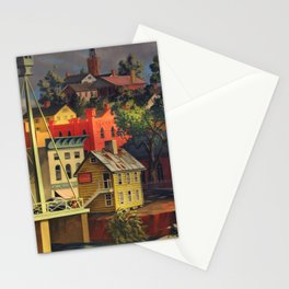 New England Town on the Two Rivers with Bridge landscape painting by Peter Blume Stationery Cards