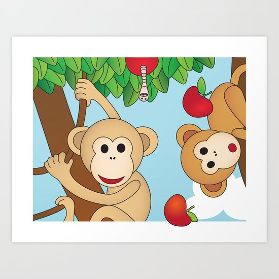 Cute Monkeys Part A Art Print