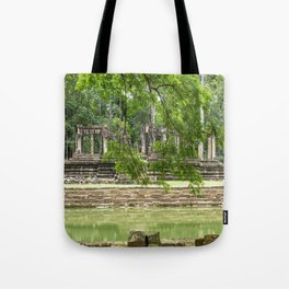 Pool & Structure of Baphuon Temple I, Angkor Thom, Siem Reap, Cambodia Tote Bag