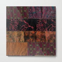 Bohemian fiber art, dark red copper gold mixed media Metal Print