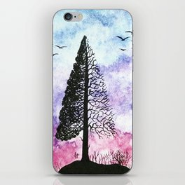 Silhouette of pine tree iPhone Skin