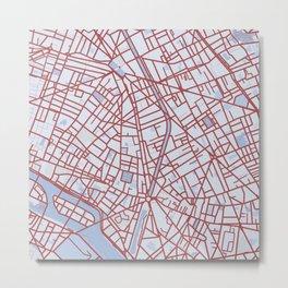 Paris Custom Map Print (color) Metal Print