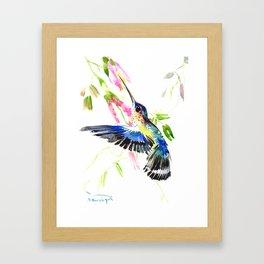 Flying Blue Hummingbird Framed Art Print