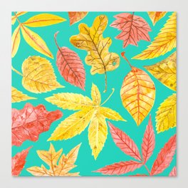 Autumn leaves watercolor teal Canvas Print