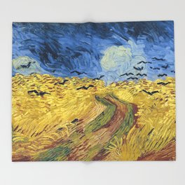 Wheatfield with Crows by Vincent van Gogh Throw Blanket
