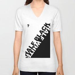 Half Black, Half White? Unisex V-Neck