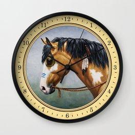 Native American Buckskin Pinto War Horse Wall Clock