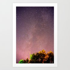 Meteors near the Milky Way II Art Print