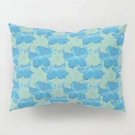 Scuba Blue and Lucite Green Watercolor Floral Pillow Sham