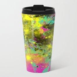 Stargazer - Abstract cyan, black, purple and yellow oil painting Metal Travel Mug