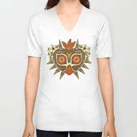 tiki V-neck T-shirts featuring Tiki Majora by Paula García