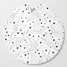 Japanese Origami white paper cranes sketch, symbol of happiness, luck and longevity Cutting Board