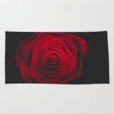 Red rose on black background vintage effect Beach Towel