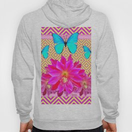 Fuchsia Orchid Flowers Turquoise Butterfly Yellow Patterns Hoody