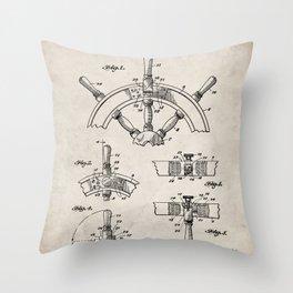 Ships Wheel Patent - Boat Wheel Art - Antique Throw Pillow