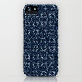 Indigo Tie Dye Batik Hand Drawn Damask Blue iPhone Case