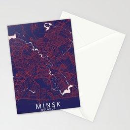 Minsk, Belarus, Blue, White, City, Map Stationery Cards