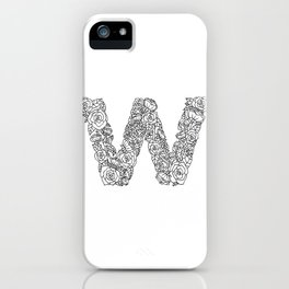 Floral Type - Letter W iPhone Case