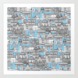 Paris toile cornflower blue Art Print