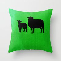 sheep Throw Pillows featuring Sheep by Brontosaurus