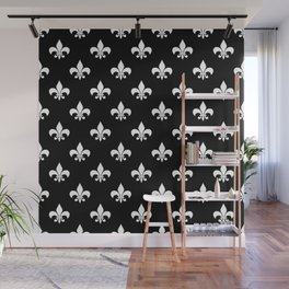 White royal lilies on a black background Wall Mural