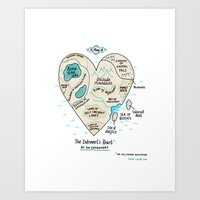 gemma Art Prints featuring A Map of the Introvert's Heart by gemma correll