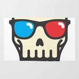 Line skull with 3D glasses Rug