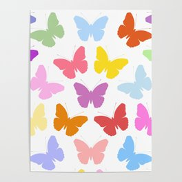 Multicoloured Butterflies Pattern Poster