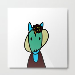 Horse at the Races Metal Print