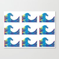 hokusai Canvas Prints featuring Hokusai Rainbow_Bs by FACTORIE