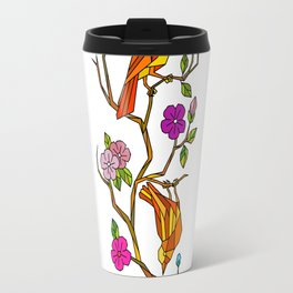 Bird on Cherry Blossom Low Polygon Travel Mug
