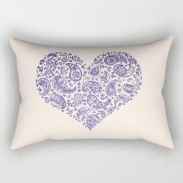Purple Brocade Paisley Heart Rectangular Pillow