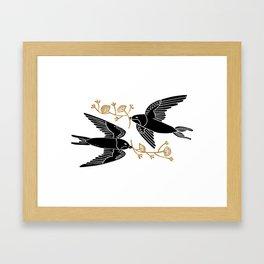 Duet - love birds, birds art print, linocut art print, minimal nature art, nature art print, Framed Art Print