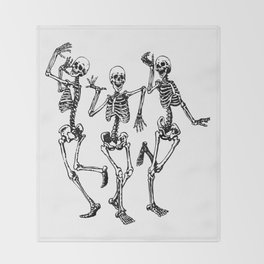Three Dancing Skulls Throw Blanket