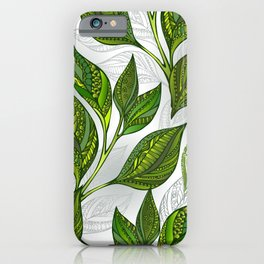 Seamless Pattern with Green Tea Leaves iPhone Case