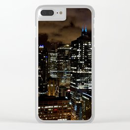 Chicago Night Skyline Clear iPhone Case