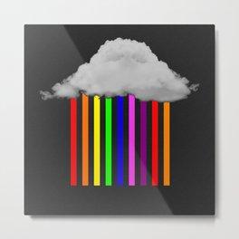 Falling Rainbows - Abstract Cloud And Rainbow Rain Metal Print
