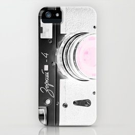vintage Camera Black & White + Pink iPhone Case