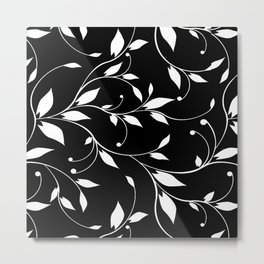 FLOWERY VINES | black white Metal Print