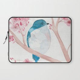 Blue Bird and Blossoms Laptop Sleeve