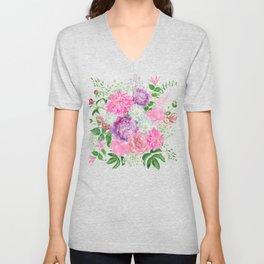 Pink bouquet of garden flowers Unisex V-Neck