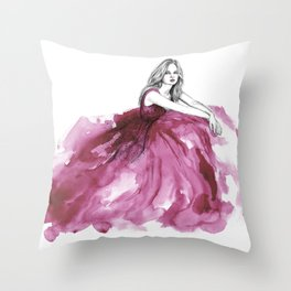 Gown Pink Throw Pillow