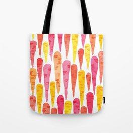 Rainbow Carrot pattern // watercolor in pink + orange + yellow Tote Bag
