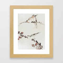 Three Birds Perched on Branches - Hokusai Framed Art Print