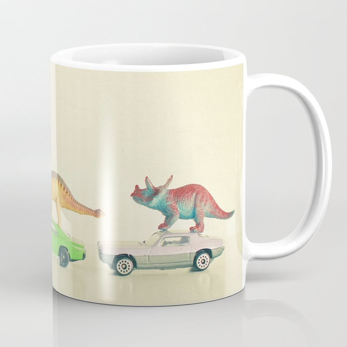 Dinosaurs Ride Cars Coffee Mug By Cassiabeck Society6