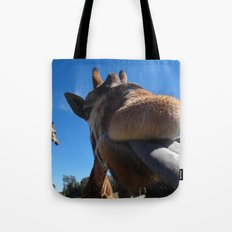 Giraffe lick Tote Bag