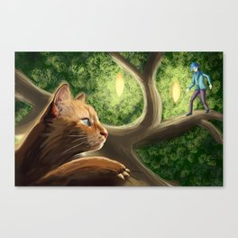 What do cats do at night? Canvas Print